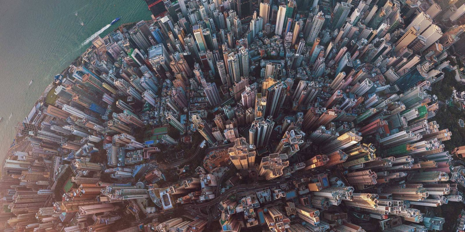 Aerial view of Hong Kong Downtown.
